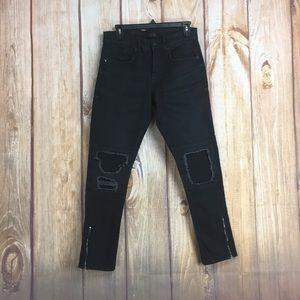 💸Zara Man Black Distressed MOTO Jean Size 30